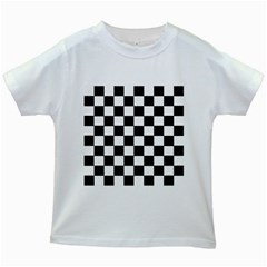 Grid Domino Bank And Black Kids White T Shirts