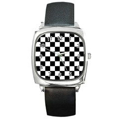 Grid Domino Bank And Black Square Metal Watch