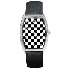Grid Domino Bank And Black Barrel Style Metal Watch
