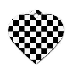 Grid Domino Bank And Black Dog Tag Heart (one Side)
