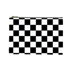 Grid Domino Bank And Black Cosmetic Bag (large)