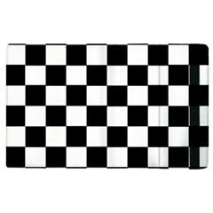 Grid Domino Bank And Black Apple Ipad 2 Flip Case