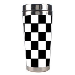 Grid Domino Bank And Black Stainless Steel Travel Tumblers