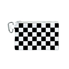 Grid Domino Bank And Black Canvas Cosmetic Bag (s)