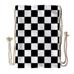 Grid Domino Bank And Black Drawstring Bag (large)