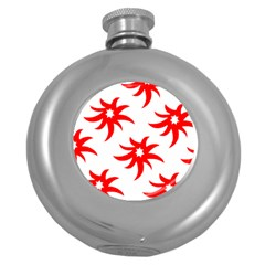 Star Figure Form Pattern Structure Round Hip Flask (5 Oz)