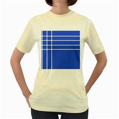 Stripes Pattern Template Texture Blue Women s Yellow T Shirt