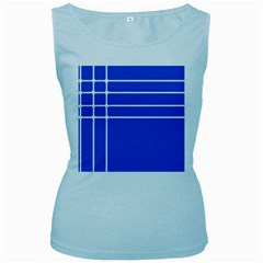 Stripes Pattern Template Texture Blue Women s Baby Blue Tank Top