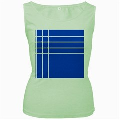 Stripes Pattern Template Texture Blue Women s Green Tank Top
