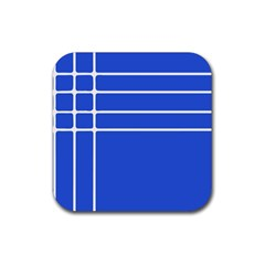 Stripes Pattern Template Texture Blue Rubber Coaster (square)