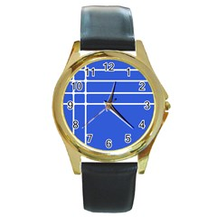 Stripes Pattern Template Texture Blue Round Gold Metal Watch