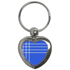 Stripes Pattern Template Texture Blue Key Chains (heart)