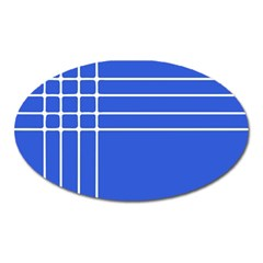 Stripes Pattern Template Texture Blue Oval Magnet