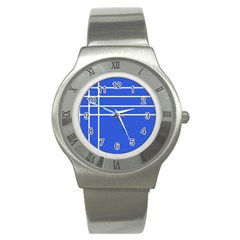 Stripes Pattern Template Texture Blue Stainless Steel Watch