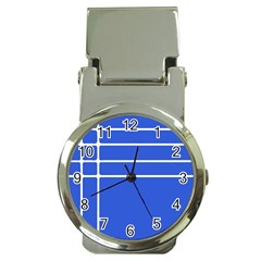 Stripes Pattern Template Texture Blue Money Clip Watches