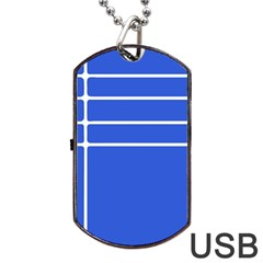 Stripes Pattern Template Texture Blue Dog Tag Usb Flash (one Side)