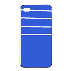 Stripes Pattern Template Texture Blue Apple Iphone 4/4s Seamless Case (black)