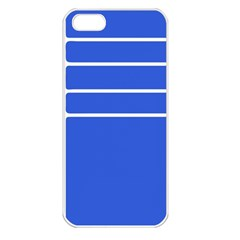 Stripes Pattern Template Texture Blue Apple Iphone 5 Seamless Case (white)