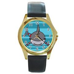 Shark Sea Fish Animal Ocean Round Gold Metal Watch