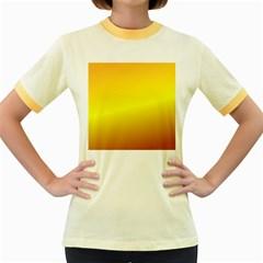 Gradient Orange Heat Women s Fitted Ringer T Shirts