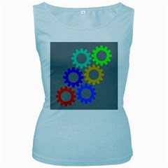 Gear Transmission Options Settings Women s Baby Blue Tank Top