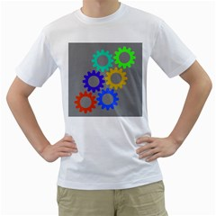 Gear Transmission Options Settings Men s T Shirt (white) (two Sided)