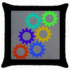 Gear Transmission Options Settings Throw Pillow Case (black)