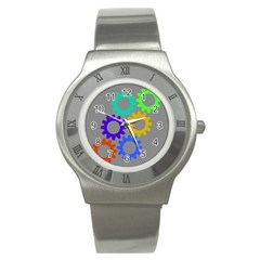 Gear Transmission Options Settings Stainless Steel Watch