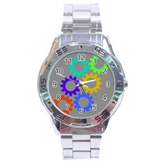 Gear Transmission Options Settings Stainless Steel Analogue Watch