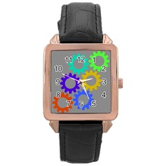 Gear Transmission Options Settings Rose Gold Leather Watch