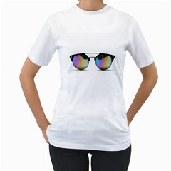 Sunglasses Shades Eyewear Women s T Shirt (white)