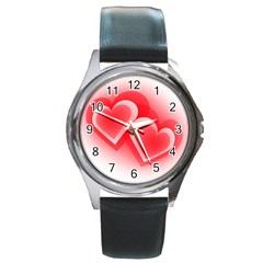 Heart Love Romantic Art Abstract Round Metal Watch