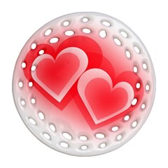Heart Love Romantic Art Abstract Ornament (round Filigree)