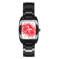 Heart Love Romantic Art Abstract Stainless Steel Barrel Watch
