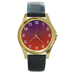Course Colorful Pattern Abstract Round Gold Metal Watch