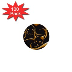 Gold Dog Cat Animal Jewel Dor¨| 1  Mini Buttons (100 Pack)