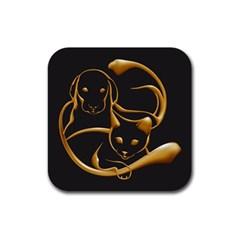 Gold Dog Cat Animal Jewel Dor¨| Rubber Coaster (square)