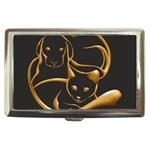 Gold Dog Cat Animal Jewel Dor¨| Cigarette Money Cases Front