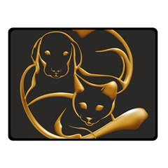 Gold Dog Cat Animal Jewel Dor¨| Fleece Blanket (small)