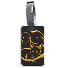 Gold Dog Cat Animal Jewel Dor¨  Luggage Tags (two Sides)