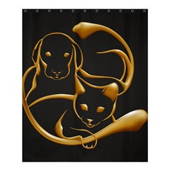 Gold Dog Cat Animal Jewel Dor¨| Shower Curtain 60  X 72  (medium)