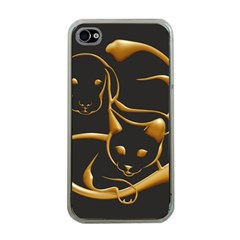 Gold Dog Cat Animal Jewel Dor¨| Apple Iphone 4 Case (clear)
