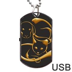 Gold Dog Cat Animal Jewel Dor¨| Dog Tag Usb Flash (two Sides)