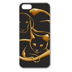 Gold Dog Cat Animal Jewel Dor¨| Apple Seamless Iphone 5 Case (clear)