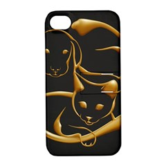 Gold Dog Cat Animal Jewel Dor¨| Apple Iphone 4/4s Hardshell Case With Stand