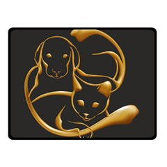 Gold Dog Cat Animal Jewel Dor¨| Double Sided Fleece Blanket (small)