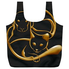 Gold Dog Cat Animal Jewel Dor¨| Full Print Recycle Bags (l)