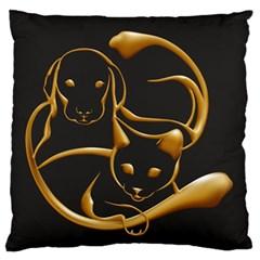 Gold Dog Cat Animal Jewel Dor¨| Large Flano Cushion Case (one Side)