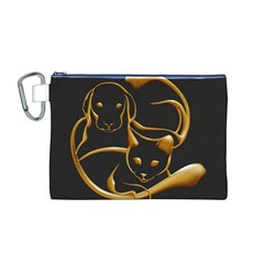 Gold Dog Cat Animal Jewel Dor¨| Canvas Cosmetic Bag (m)