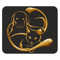 Gold Dog Cat Animal Jewel Dor¨| Double Sided Flano Blanket (small)